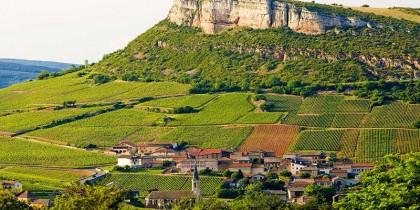 environment of La Roche de Solutré with vineyards, Burgundy, France